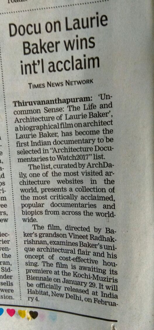 ArchDaily Times of India Coverage Jan 6th