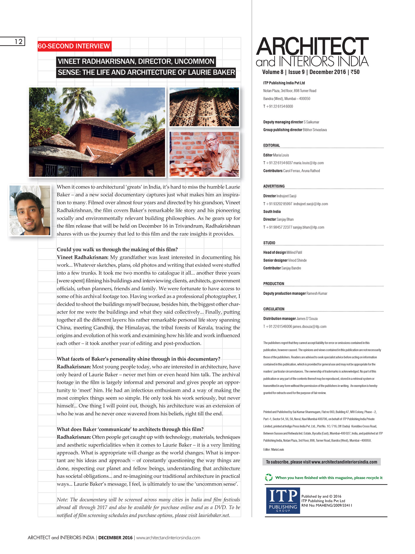 Architect and Interiors India Film Interview